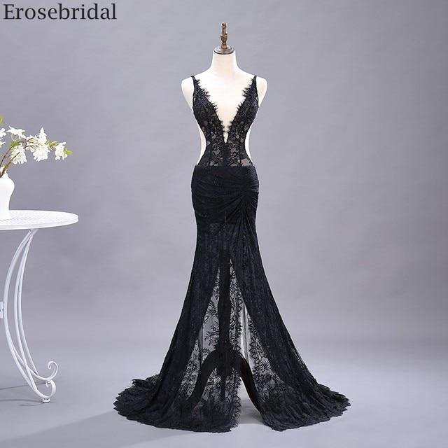Erosebridal Sexy See Through Mermaid Prom Dress Long Black Lace Evening Dress Deep V Neck Open Back Front Split Formal Dress