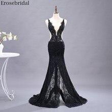 Erosebridal סקסי לראות דרך בת ים שמלה לנשף ארוך שחור תחרה שמלת ערב V העמוק צוואר גב פתוח פיצול חזית פורמליות שמלה