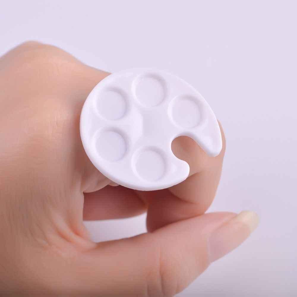 Plastikowa paleta paznokci Mini palec pierścień naczynia lakier żelowy uv malowanie rysunek uchwyt pigmentu płyta Case narzędzia do manicure