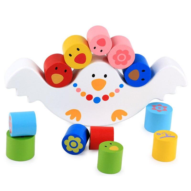 Montessori Wood Birds Balance Game Kids wooden Educational Toys For Children Wooden Toys Balancing Blocks Baby Children Gifts
