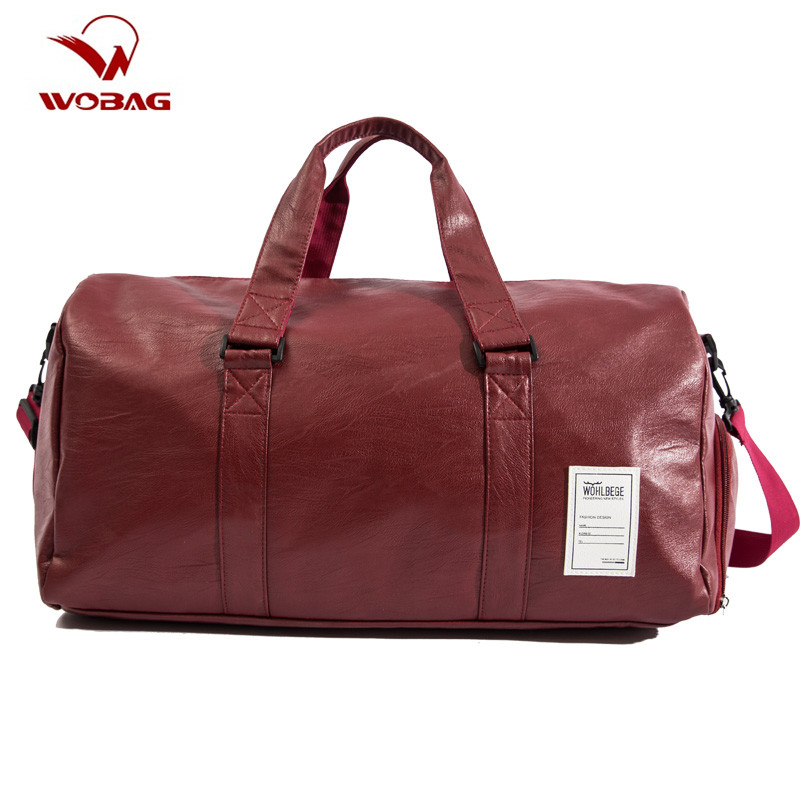 Wobag Quality Travel Bag PU Leather Couple Travel Bags Hand Luggage For Men And Women New Fashion Duffle Bag Travel 2018