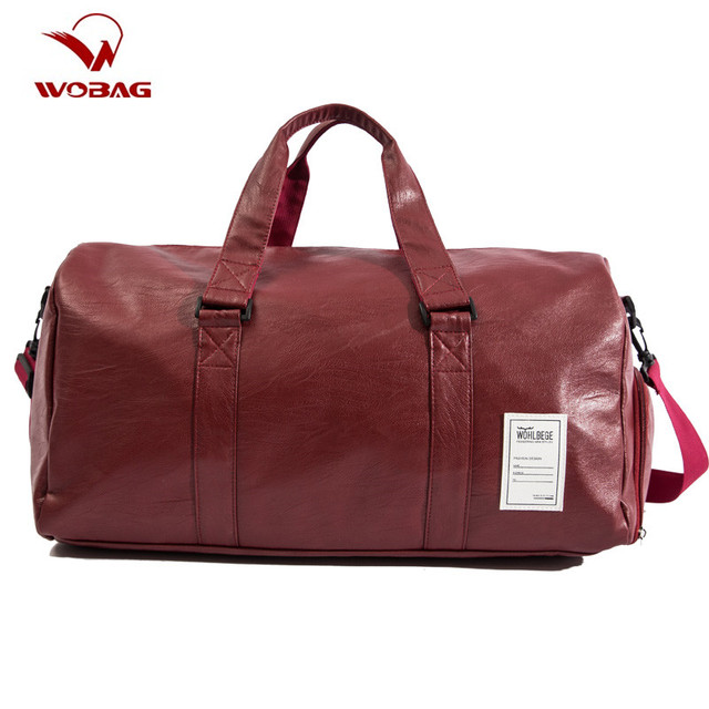 Men Travel Bags with Shoe Bags Waterproof Travel Duffle Bag Men Women Sports Gym Bags High Grad Pu Leather Outdoor Overnight Bag
