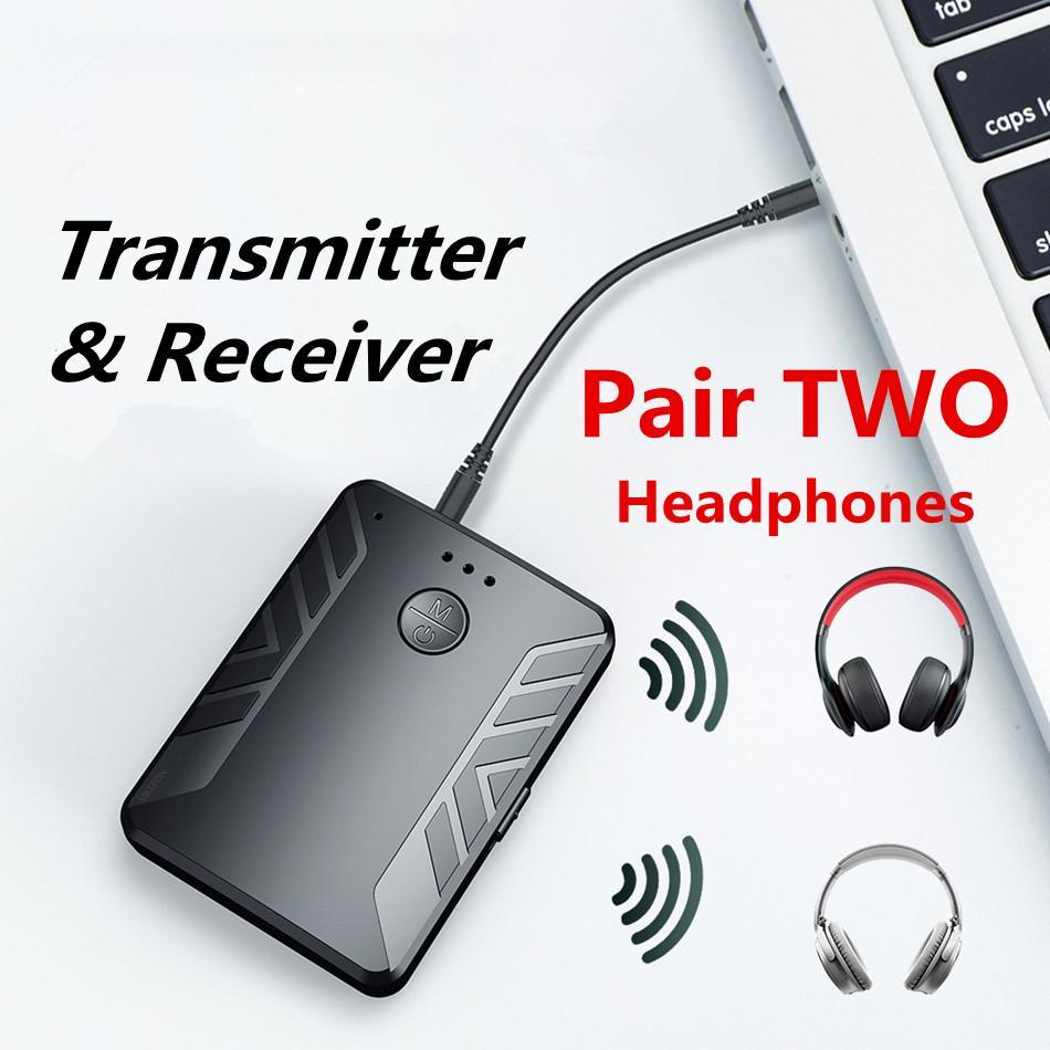 Transmisor de Audio 2 en 1 con Bluetooth V5.0, dos auriculares, adaptador inalámbrico AUX RCA de 3,5mm para TV, PC y altavoz de coche