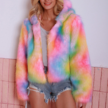Short Jacket For Women Hoodie Faux Fur 2019 Autumn Winter Warm Ladies Casual Outwear Soft Shaggy Plus Size S-3XL