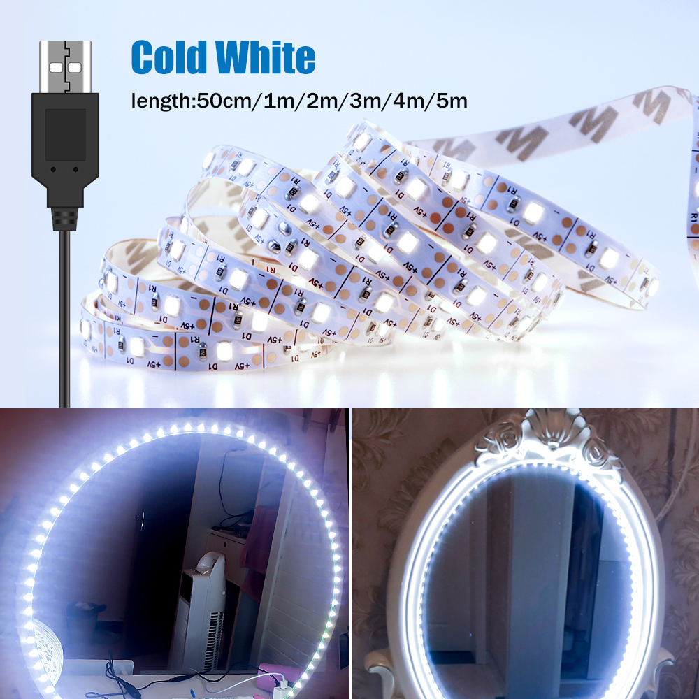 Vanity Makeup Mirror Light Strip 5V LED Flexible Tape Lamp 0.5m-5m USB Powered Dressing Mirror Wall Lamp Decor Bathroom Mirror