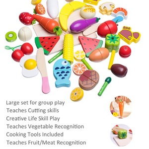 Image 5 - Wooden Cutting Cooking Play Food Sets Magnetic Wood Vegetables Fruits Pretend Play Kitchen Kits Toy  for 2 Years Up