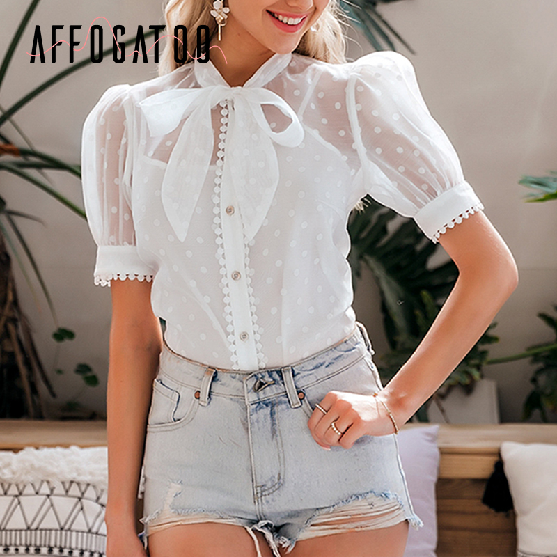 Affogatoo Elegant Bow Tie White Blouse Shirt Women Sexy Transparent Dot Female Top Puff Sleeve Casual Streetwear Ladies Tops