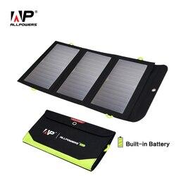 ALLPOWERS Cargador Solar 5V 21W construido en 6400mAh batería portátil de las células solares para el iPhone 5 se 6 6s 7 7 8 X iPad Samsung Xiaomi negro