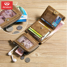 Tri Fold Passport Card Holder Men's Wallet Short Top Layer Cowhide Youth Wallet Driver's License Card Bag Wallet ASBD032