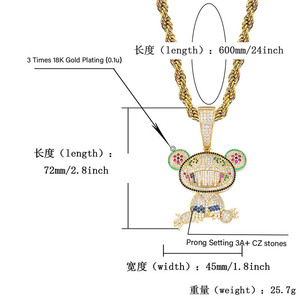 Image 5 - TOPGRILLZ Hip Hop Iced Out Frog Pendant Necklaces For Men Women Charm Chain Jewelry Gifts Full Micro Pave Zircon Necklaces