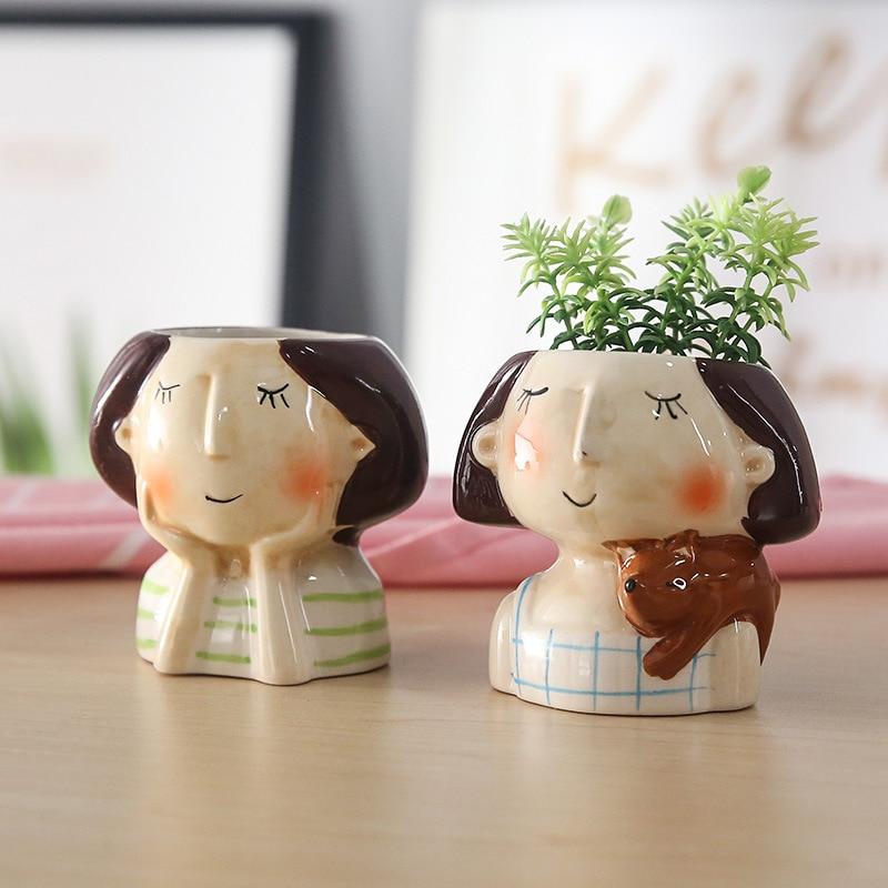 1pcs Creative Human Face Vase Home Garden Mini Bonsai Cactus Planter Pots Succulent Plant Flower Pot Wedding Birthday Gift Ideas