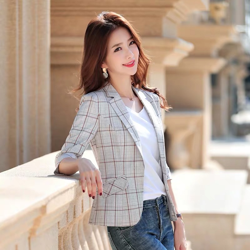 2020 new small suit thin plaid casual summer retro jacket women Three Quarter  Single Breasted  Office Lady  Plaid