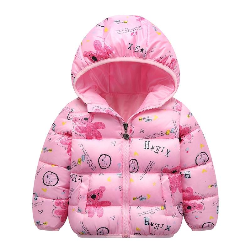 Autumn Boys Down Jackets Hooded Outerwear Children Cartoon Warm Jacket Fashion Baby Kids Coat Clothes Girls Outerwear Jacket 4