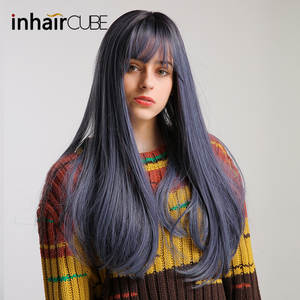 Wigs Synthetic-Hair Cosplay Blue Straight with Bangs Daily-Use Black Women Lolita Half-Wig