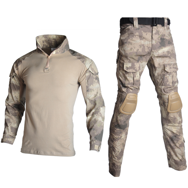 Tactical Suit Military Uniform Suits Camouflage Hunting Shirts Pants Airsoft Paintball Clothes Sets With Free Pads 10 Pockets