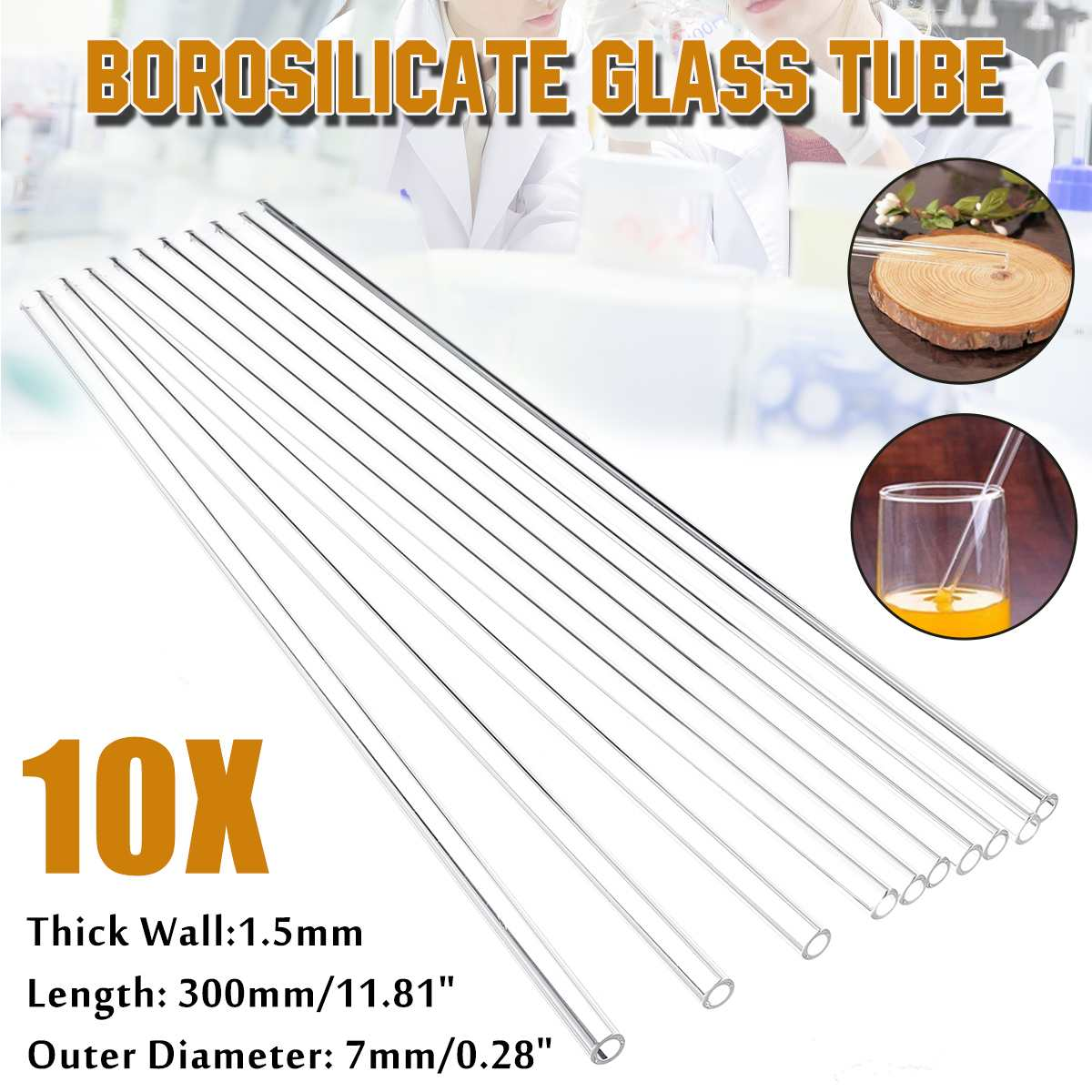KICUTE Lab Glass Blowing Tube 10Pcs 300mm OD 7mm 1.5mm Wall Borosilicate Glass Blowing Tube Lab Tubing School Factory Laboratory