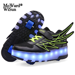 Size 28-40 Kids Roller Sneakers with LED Lights Boys Girls Glowing Wheels Shoes for Children Luminous Shoes on Wheels Re-charged