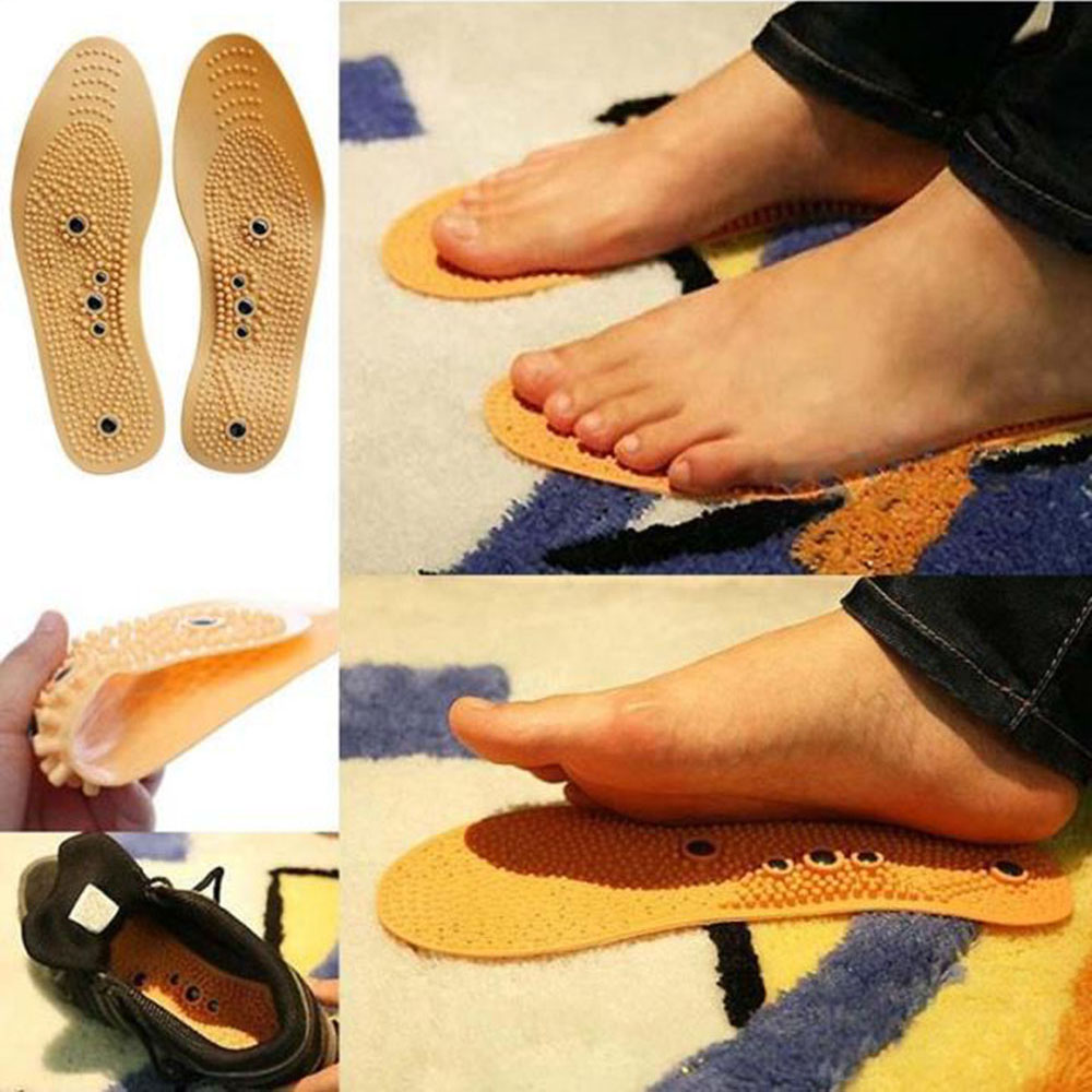 2019 New Unisex Health Foot Magnetic Insoles Slimming Therapy  Massage Foot Care Shoes Mat Pad Brown Insole Whole Sale