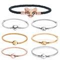 Подходят оригинальный Пан талисманы 925 стерлингового серебра браслеты различных форм застежка змея цепи сетки браслет для женщин, сделай с...