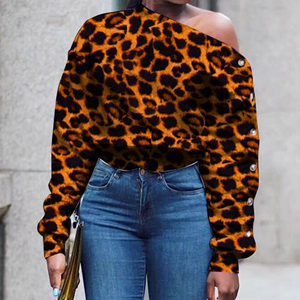 One Shoulder Fashion Leopard Top Sweatshirt Women White Blouse Plus Size Sexy Print Crop Streetwear Long Sleeve Fall 2020