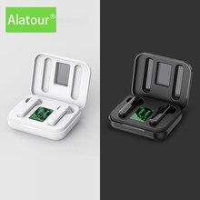 Alatour fones de ouvido sem fio bluetooth 5.0 esporte led display digital fone caixa carregamento para smartphones