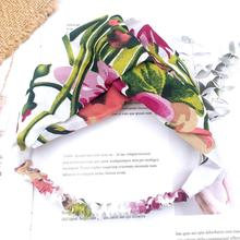 Chiffon Print Fashion Headbands Women Sweet  Floral Cross Turban Twisted Hair Accessories bezel Hairbands Girl