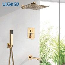 ULGKSD אמבטיה מקלחת ברז מקלחת ראש זהב נירוסטה קיר הר W/יד מקלחת Para אמבט מקלחת מיקסר מים ברז