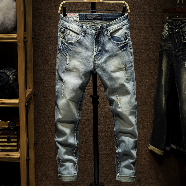 KSTUN Ripped Skinny Jeans Men Light Blue Stretch Embroidered Pockets Distressed Mens Jeans with Holes Slim Fit Casual Denim Pants Boys 11