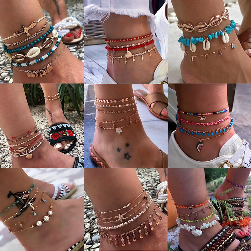 Tocona Layered Gold Shell Pendant Chain Ankle Bracelet On Leg Foot Jewelry Boho Charm Anklets for Women Accessories Mujer(China)