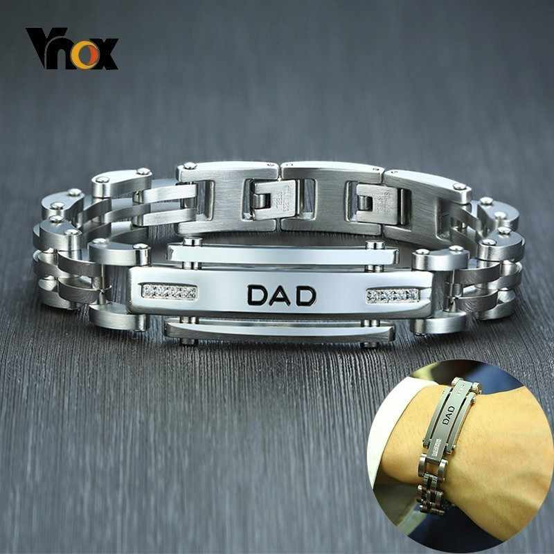 Vnox 12mm Top Quality 316L Stainless Steel Bracelet for Men Engraved DAD Bar with AAA CZ Stone Insert Casual Link Chain Bracelet