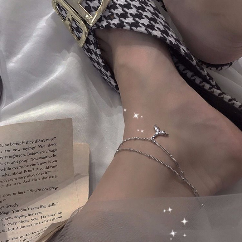 925 Sterling Silver Mermaid Charm Pendant Multi Layer Link Chain Anklet Party Jewelry for Women sl356