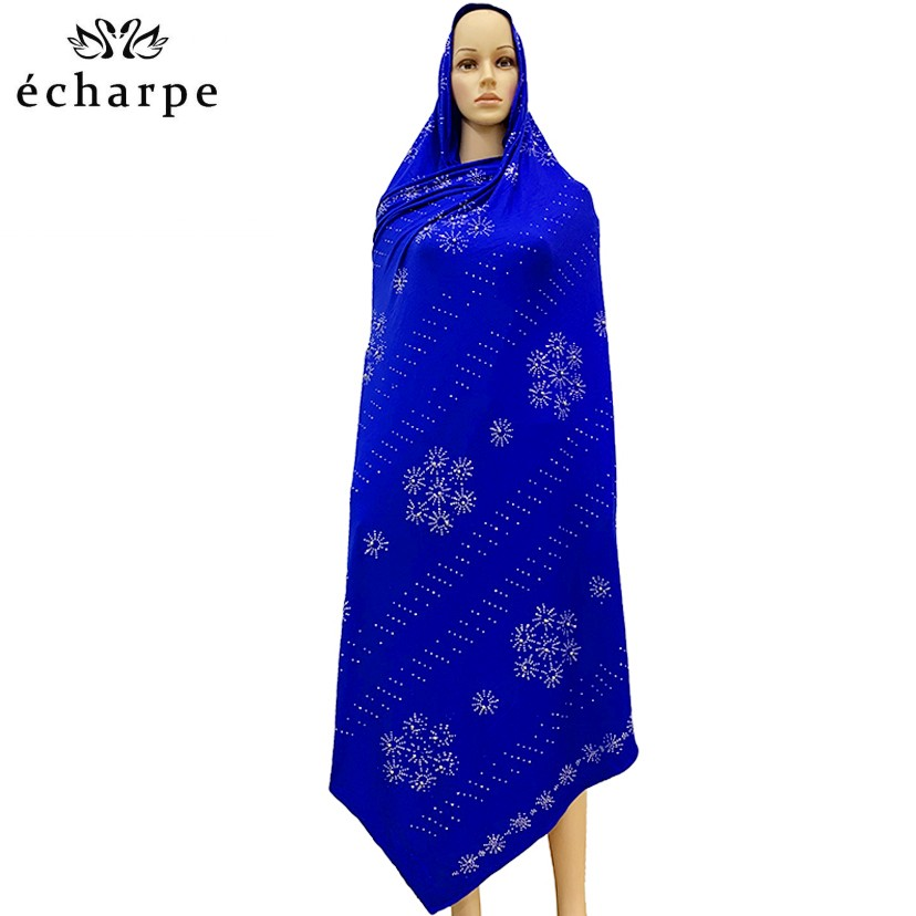 2020 New African Soft Cotton Lace Scarf Muslim Women African Scarf With Stones ,beads Scarf For Shawls Wraps EC053