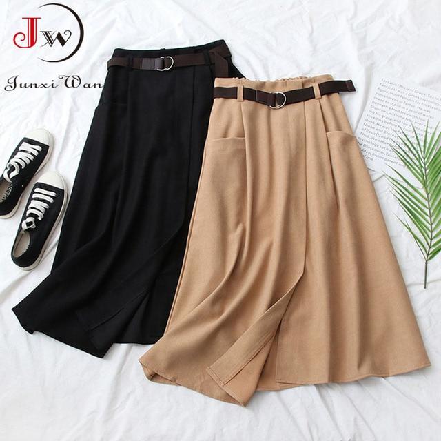 Women Casual Skirts 2021 Spring And Autumn Solid High Waist Irregular Pockets Midi Skirts Fashion Simple Elegant Saia Faldas 4