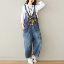 Комбинезон женский джинсовый с принтом свободный хлопковый ромпер