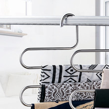 Shelf Stainless Steel Holder Pants Rack Laundry Rack S-Type Scarf Clothes Tools Device Belt(China)