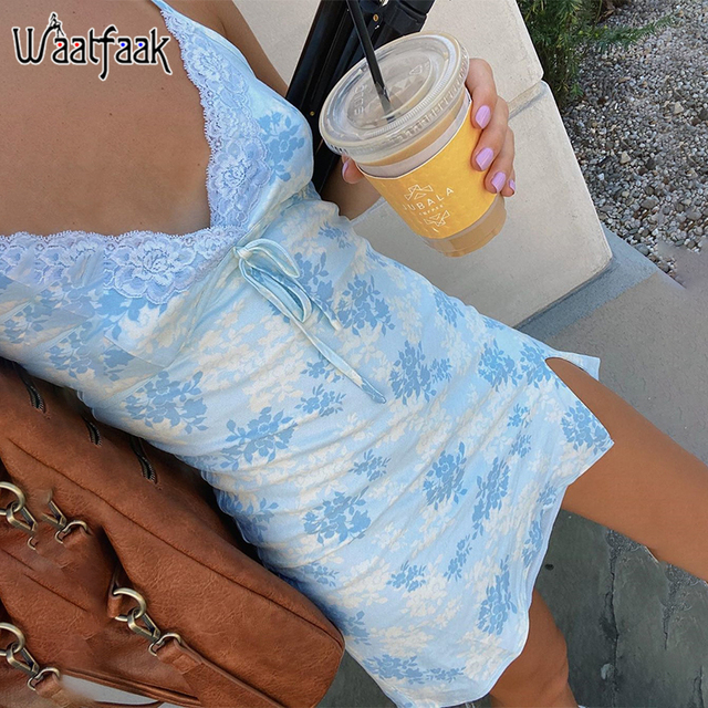Waatfaak Sexy Blue Floral Print Slip Dress Women Split Party Patchwork Lace Dress Sleeveless Summer Mini Dresses Camis Vacation 1