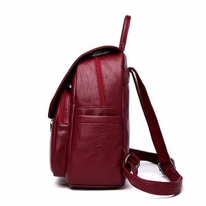 Image 3 - 2019 Solid Leather Backpacks Female Travel Large Capacity Backpack School Preppy Style Women Backpack Laptop Sac a Dos Rusksacks
