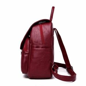 Image 3 - Однотонные кожаные рюкзаки 2019, Женский дорожный вместительный рюкзак, школьный рюкзак в стиле преппи, женский рюкзак для ноутбука, рюкзак