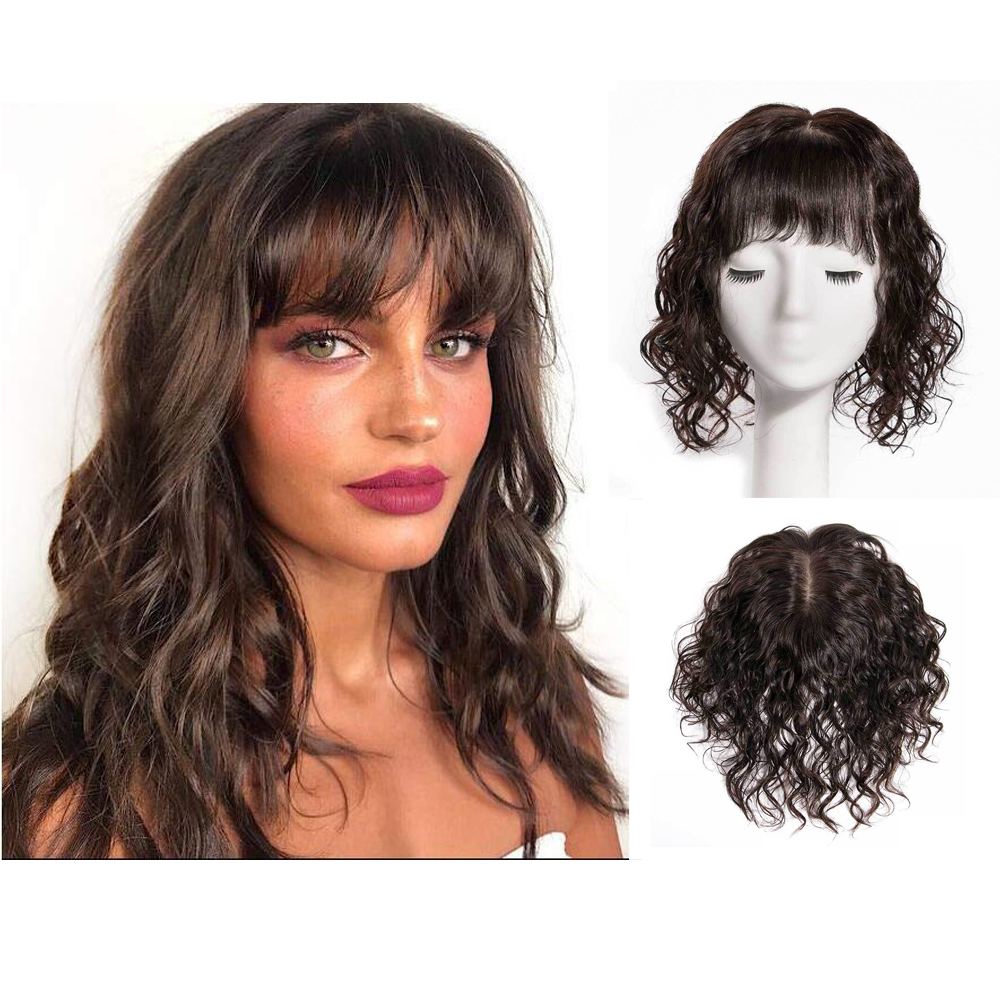 BYMC Lace With Silk Base Replacement System Human Hair With Bangs Toupee For Women Loose Wave With Clips Cover White Hair