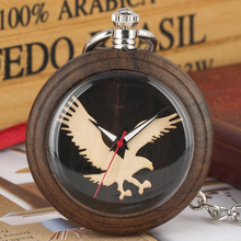 Owl Pattern Quartz Pocket Watches for Men Dark Brown Wooden Quartz Pocket Watch Practical Detachable Rough Chain Pendant Watch dark watch