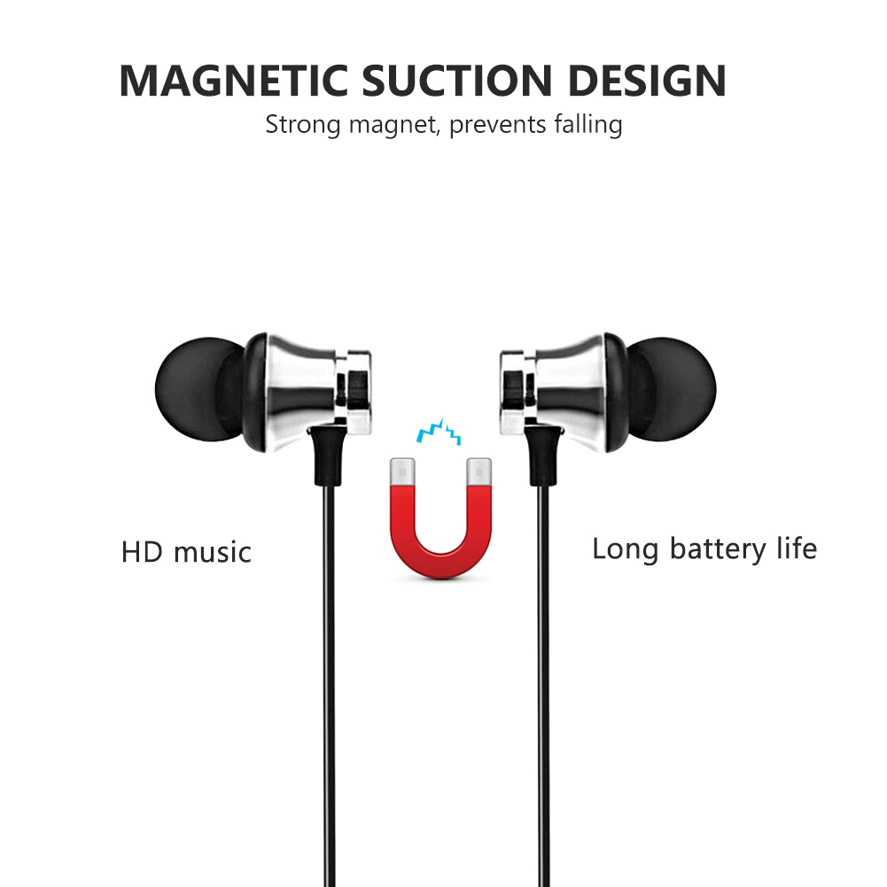 Magnetic Wireless bluetooth Earphone music headset Phone Neckband sport Earbuds Earphone with Mic For iPhone Samsung Xiaomi