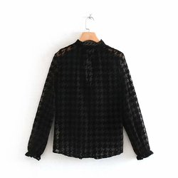 women sexy deep v neck houndstooth pattern casual mesh blouses shirts women long sleeve ruffles lace up smock blusas femininas transparent chemise tops LS4299 2