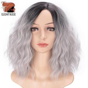 Image 4 - Zarif MUSES 14 inç sentetik Ombre mor mavi peruk kısa su dalga peruk doğal siyah saç peruk kadın isıya dayanıklı