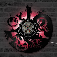 Goth Vinyl Record Wall Clock with LED Modern Design Living Room Decoration Nightmare Before Christmas Hanging Home Decor