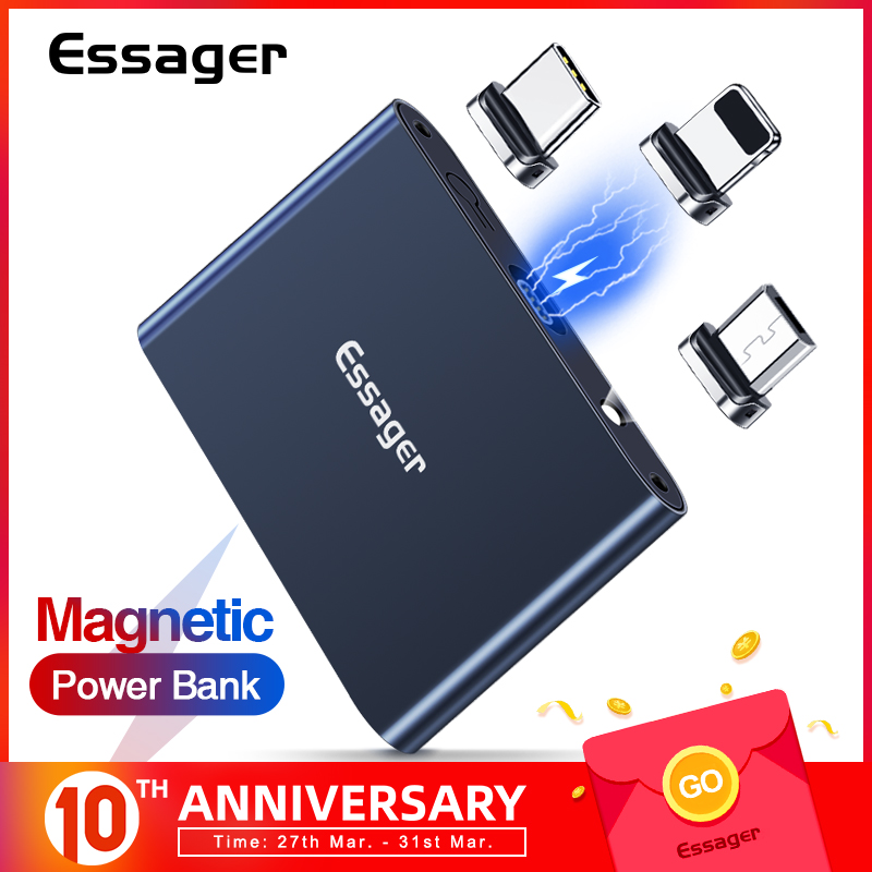 Essager Magnetic Power Bank Mini 1320mAh Flashlight Powerbank Small Magnet Portable External Battery Charger For IPhone Xiaomi