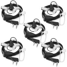 2-Pin Covert Acoustic Tube Walkie Talkie Earpiece-Two Way Radio Earpiece with a PTT Mic-Pack of 5