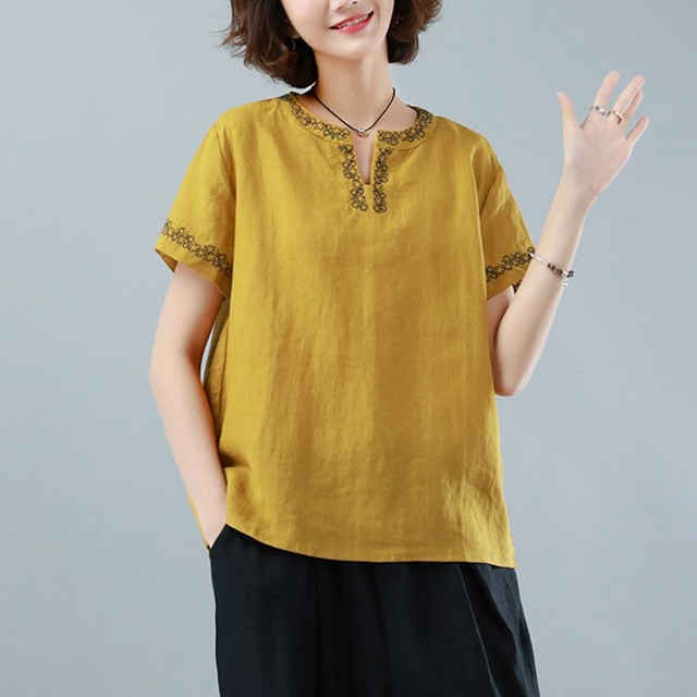Oversized Cotton Linen Shirt Women Summer Loose Casual Tops New 2020 Simple Style Vintage Embroidery Woman Blouses Shirts P1316 2