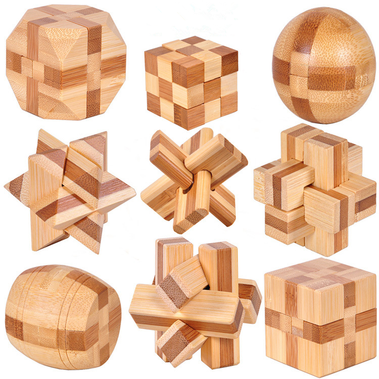 Kids Adults 3D Wooden Kong Ming Lock Assembling Cube Early Educational Toy IQ Brain Teaser Intelligence Unlock Game Toys