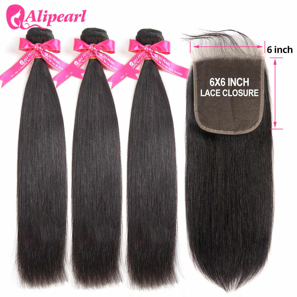 AliPearl Human Hair Bundles With Closure 6x6 Free Part Pre Plucked Brazilian Straight Bundles With Closure Remy Hair Extension
