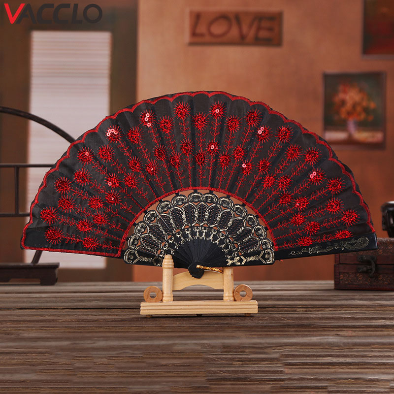 Vacclo Folding Chinese Spanish Type Dance Wedding Party Hand Held Fan Fashion Plastic Cloth Folding Hand Dance Prop Decoration
